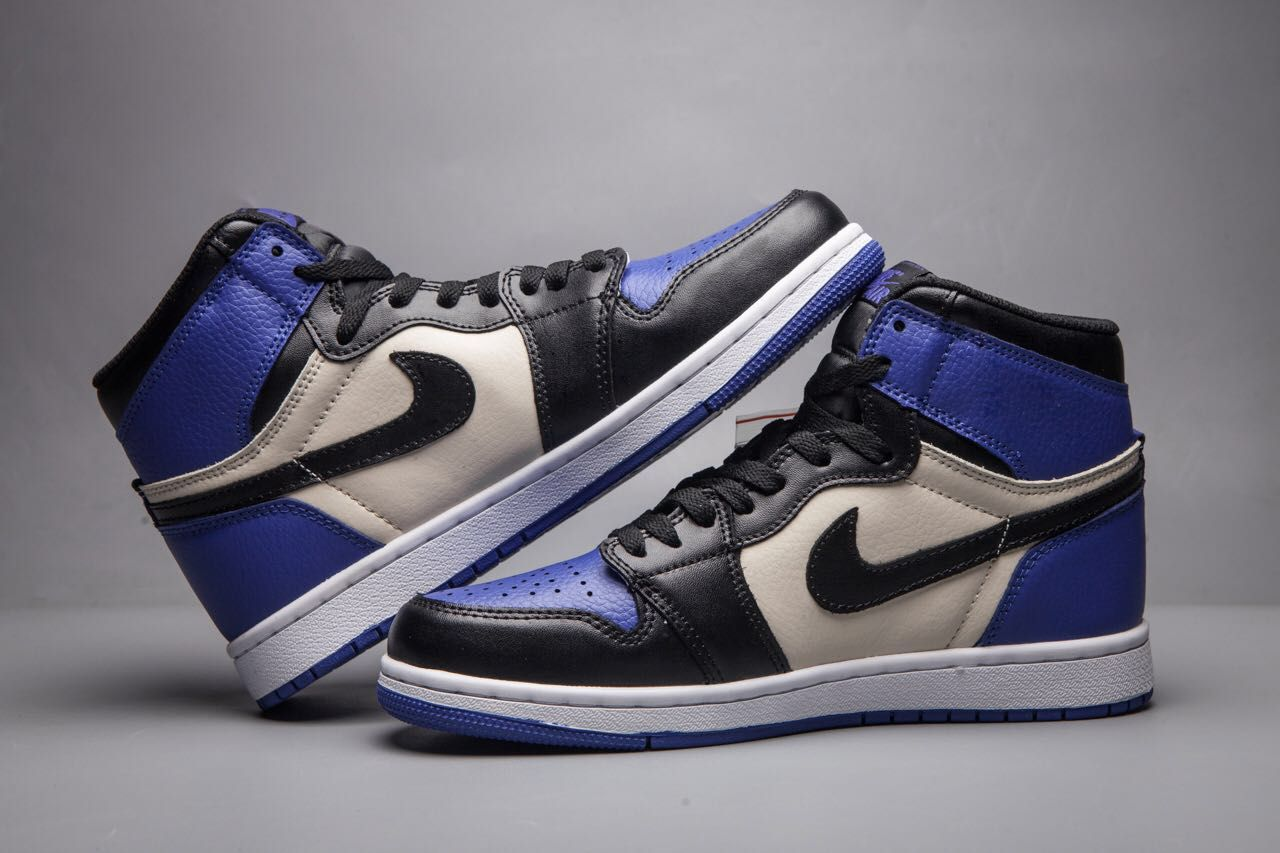 New Air Jordan 1 Toe Black Blue White Shoes