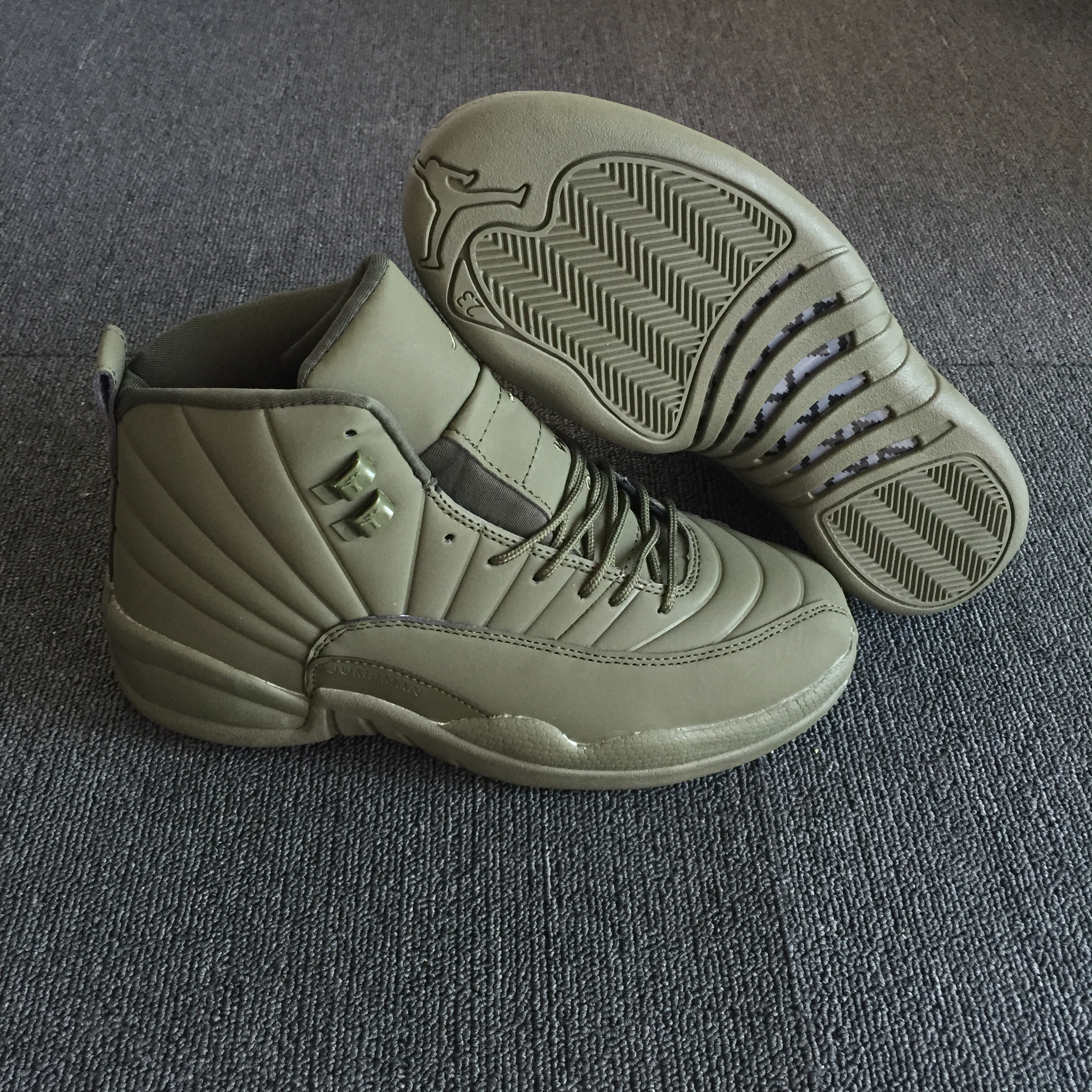 New Air Jordan 12 High Army Green Shoes