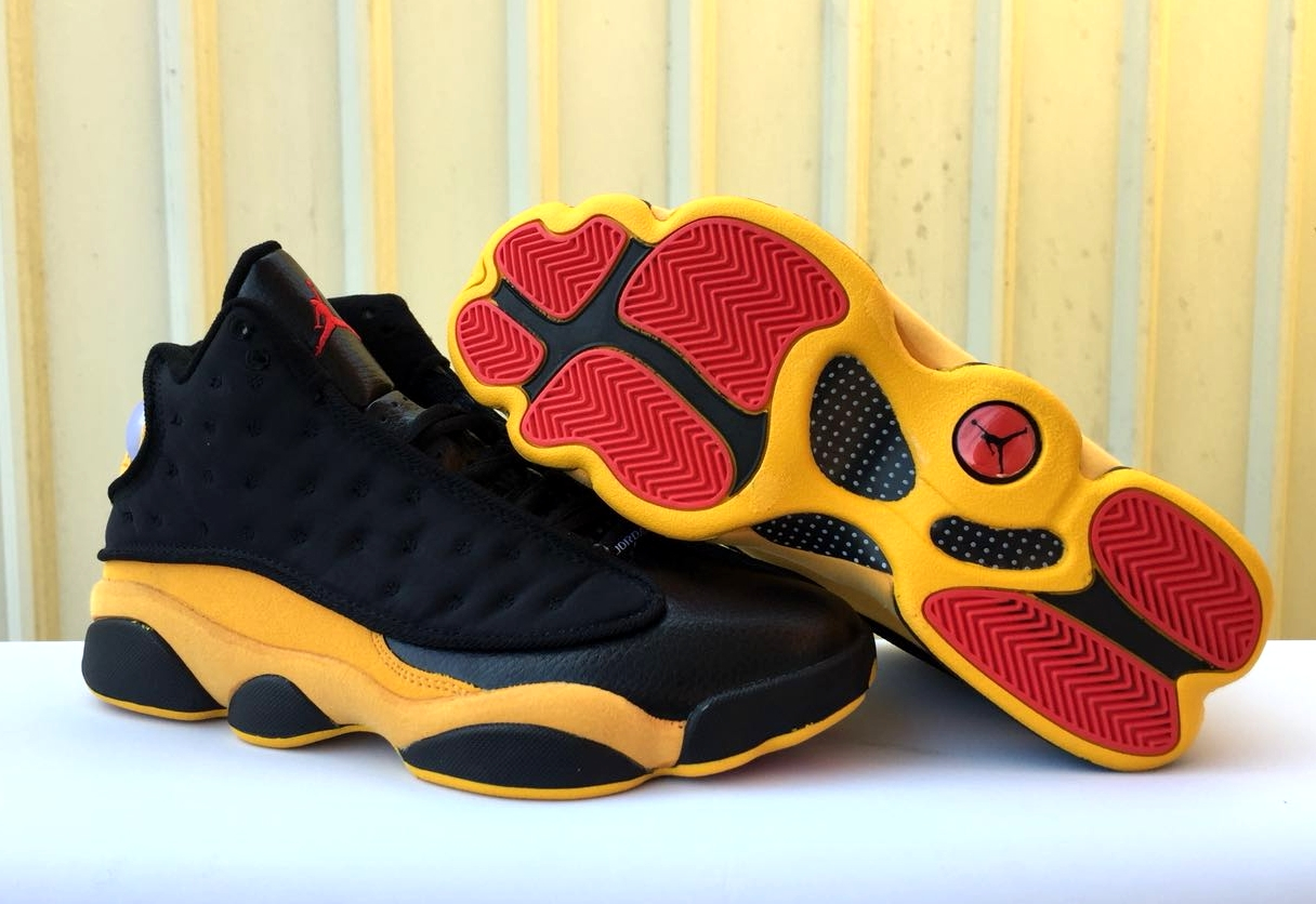 New Air Jordan 13 Retro Black Yellow Red Shoes
