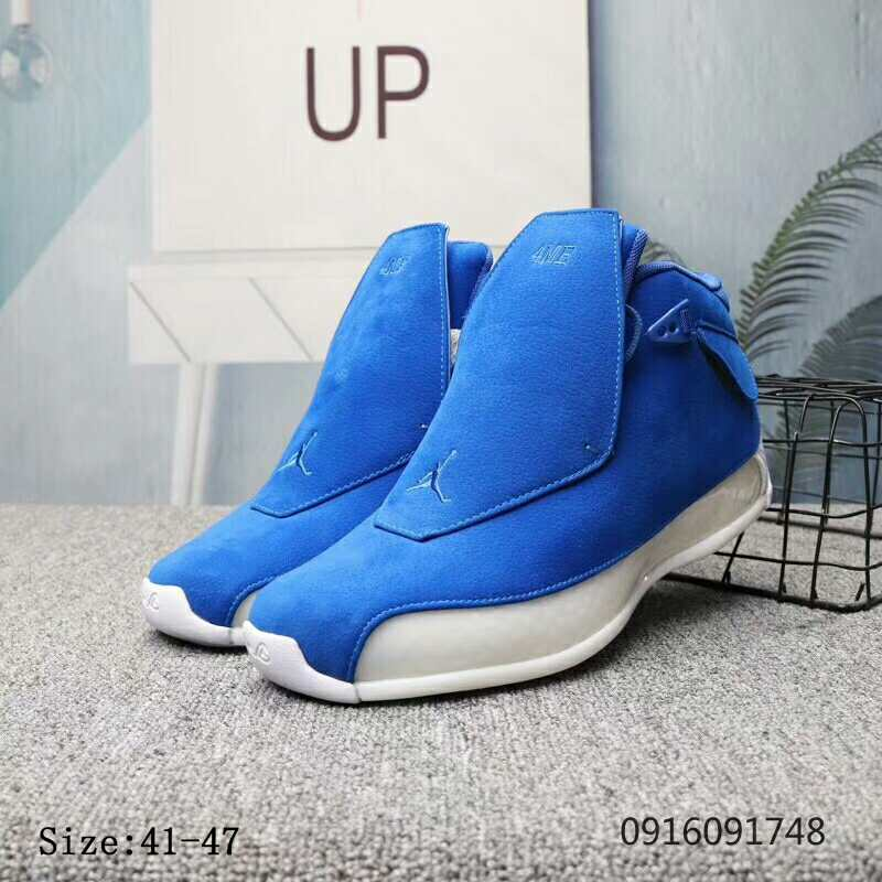 New Air Jordan 18 Blue White Shoes