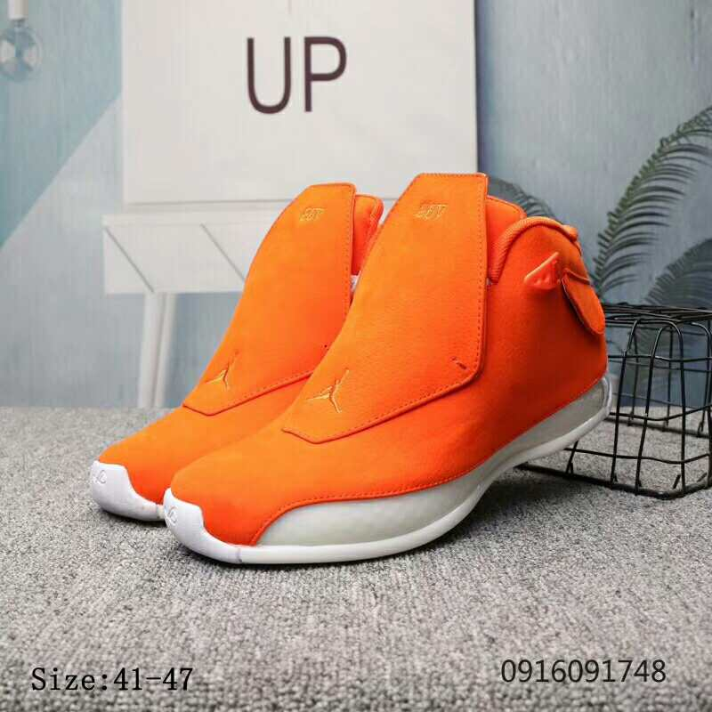 New Air Jordan 18 Orange White Shoes