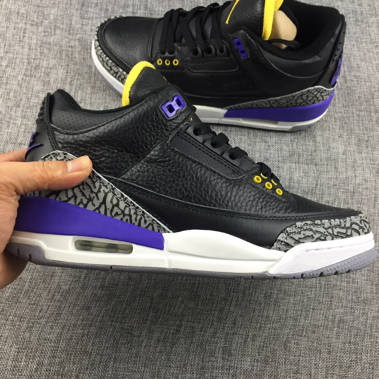 New Air Jordan 3 Black Purple Yellow Shoes