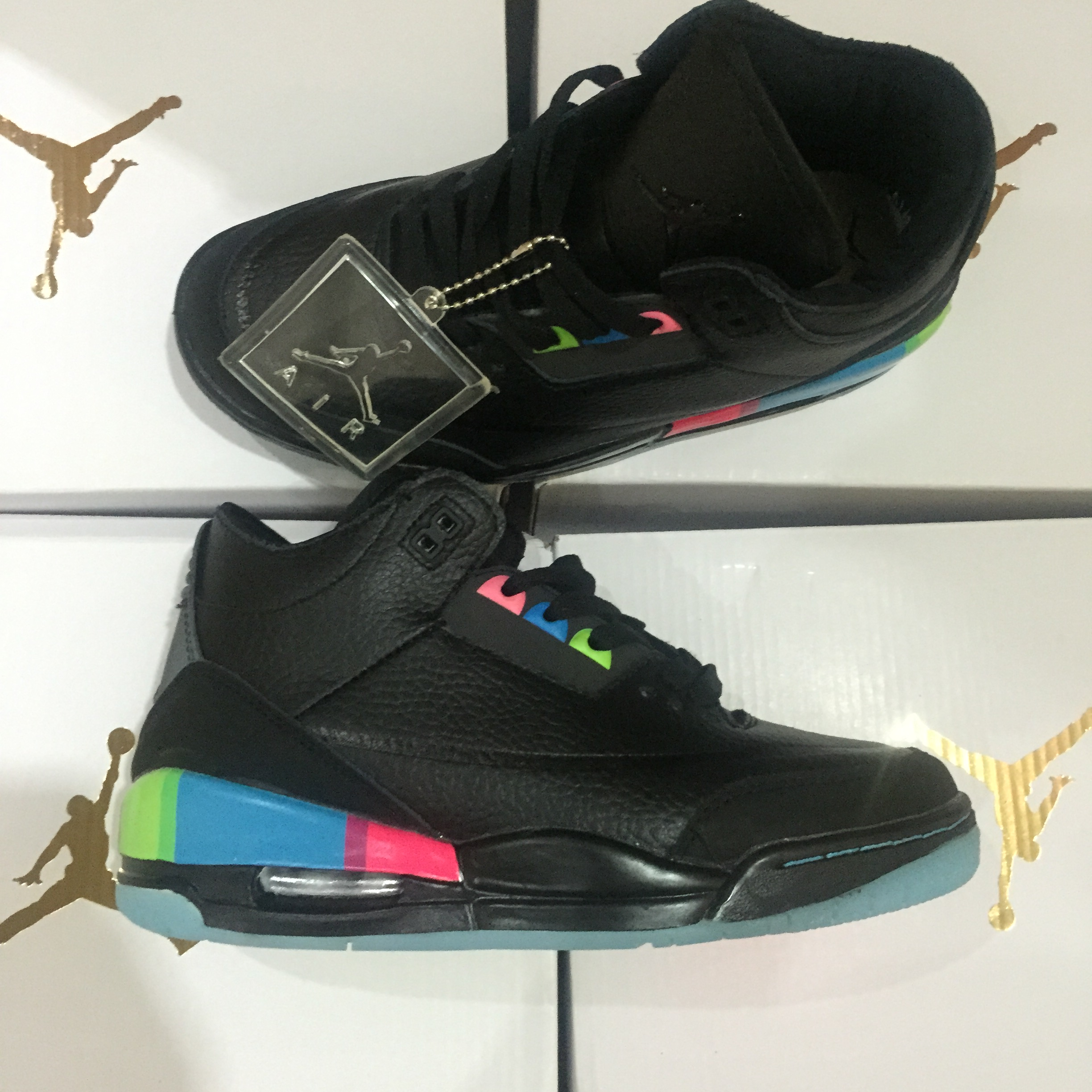 New Air Jordan 3 Black Rianbow Shoes