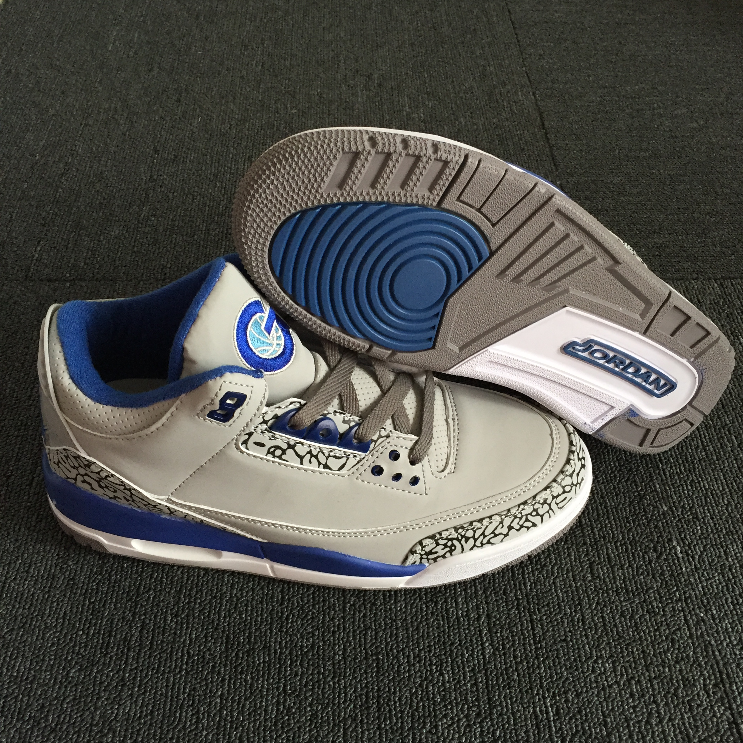 New Air Jordan 3 Retro Grey Blue Shoes