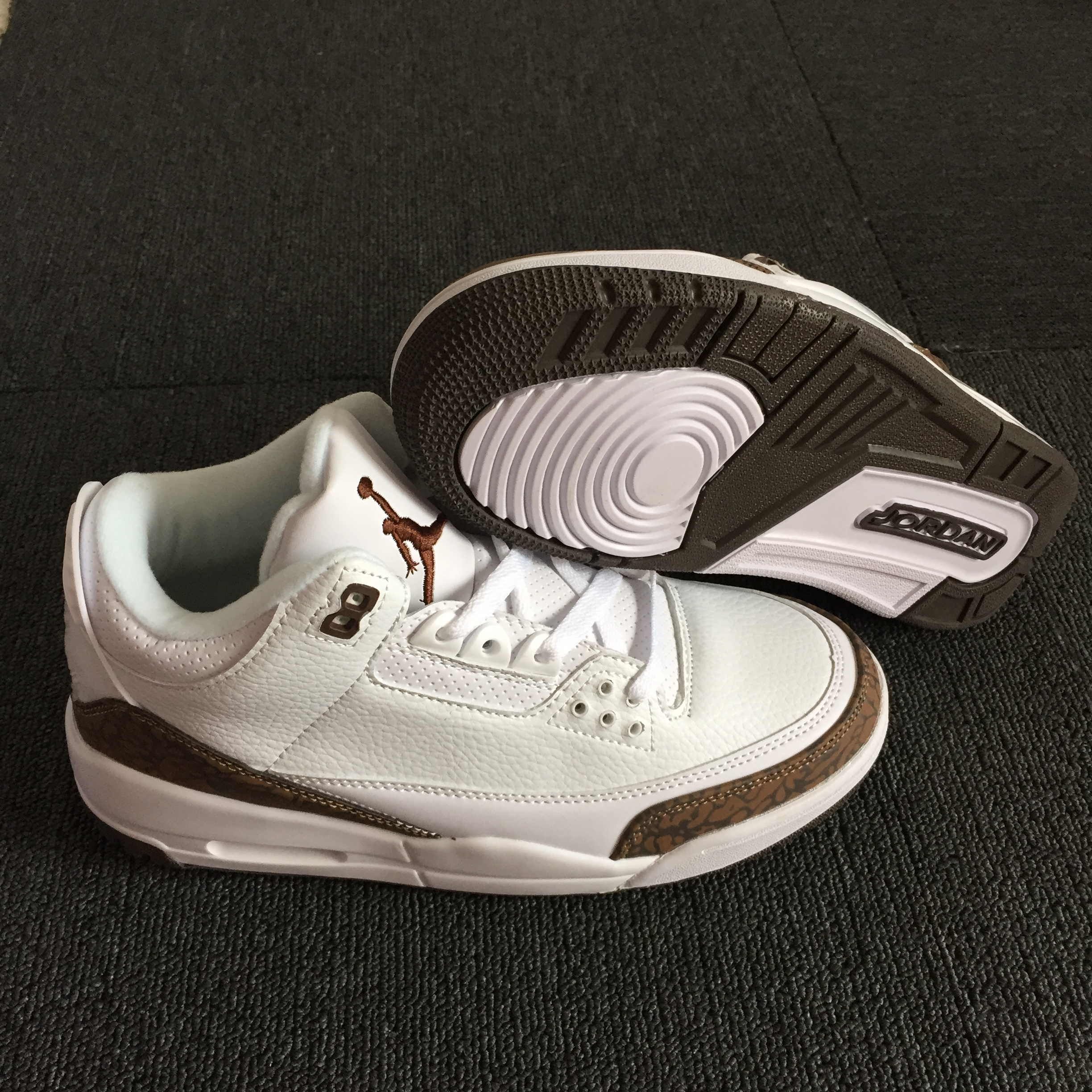 New Air Jordan 3 Retro White Brown Shoes