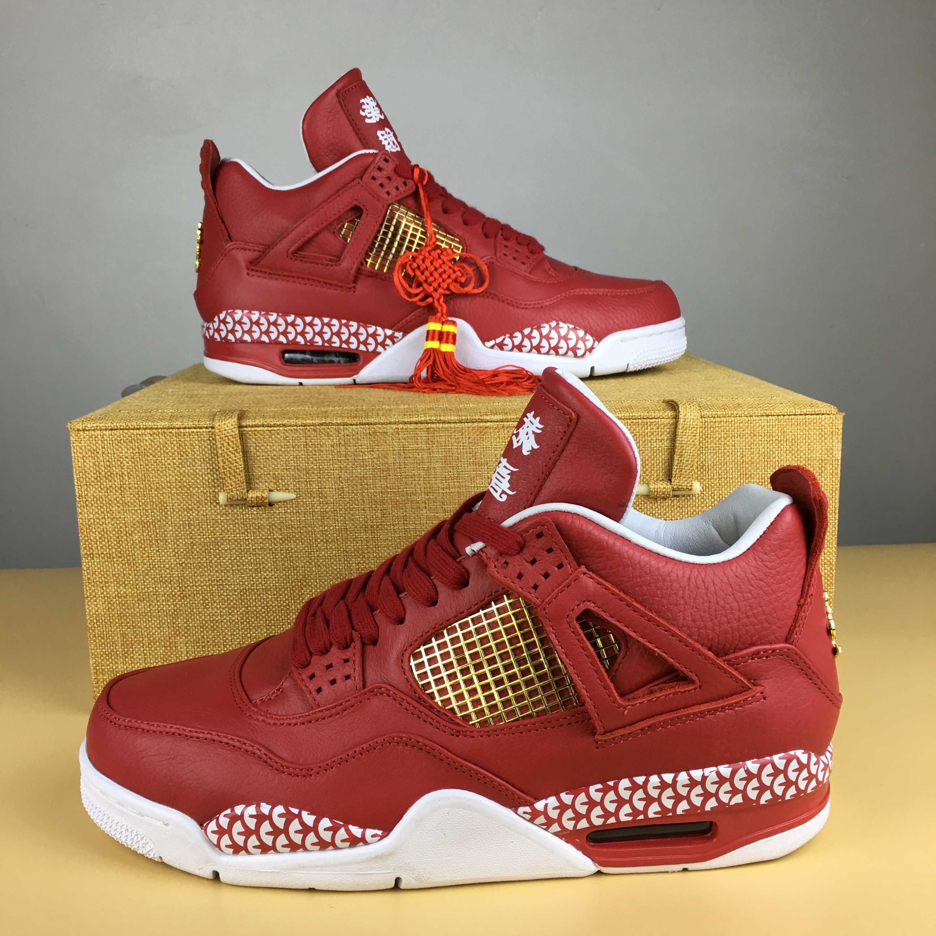 Latest Jordan 4 Kung Hei Fat Choi Red Shoes