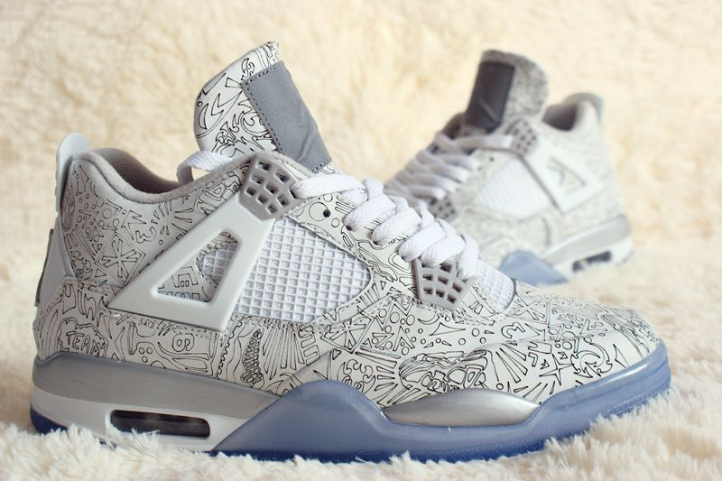 New Air Jordan 4 Laser Anniversary Silver Blue Shoes