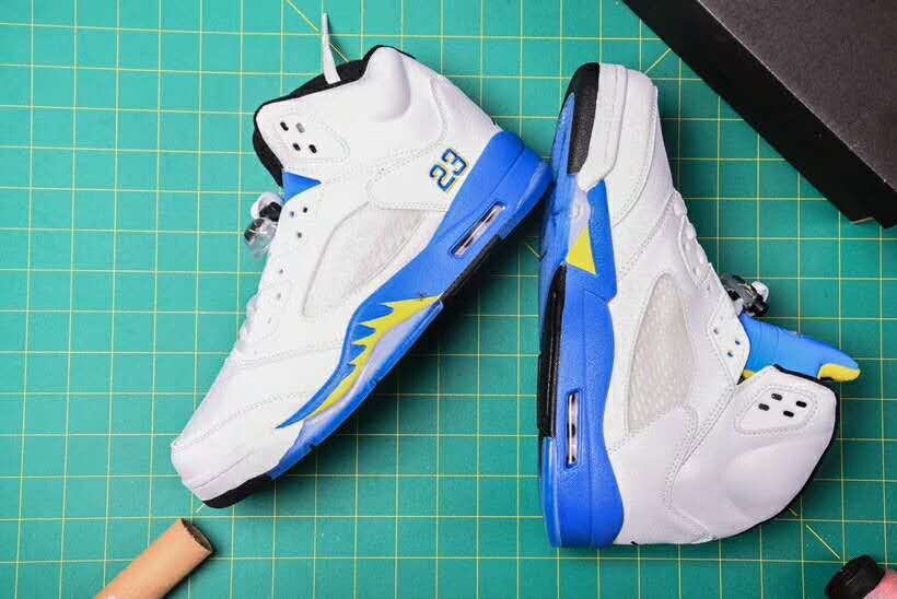 New Air Jordan 5 Retro White Blue Yellow Shoes