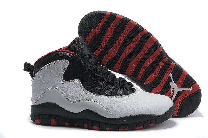 New Air Jordan 10 Shoes Black Grey Red