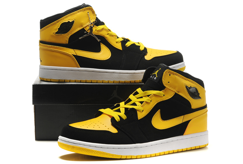 New Air Jordan 1 Blac Yellow Shoes