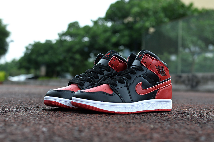 2016 Jordan 1 Retro Black Red White Shoes For Kids