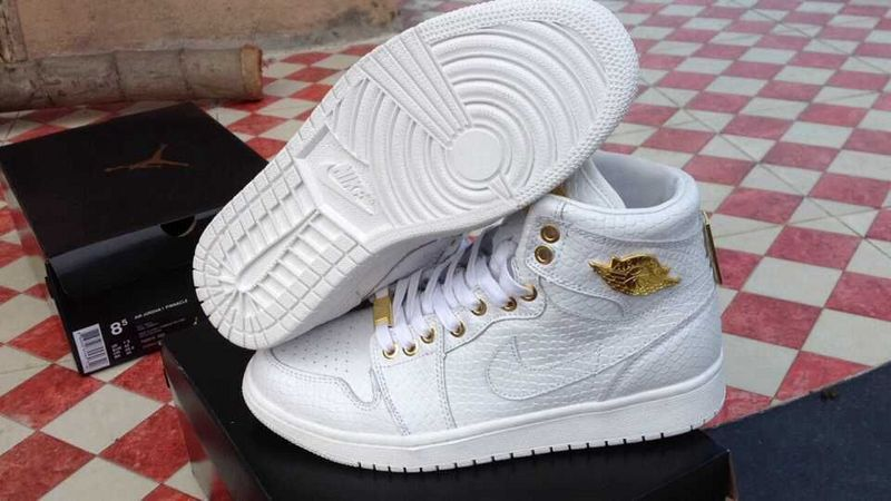 2015 Air Jordan 1 Crocodile All White Gold