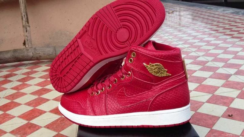 2015 Air Jordan 1 Crocodile Red Gold