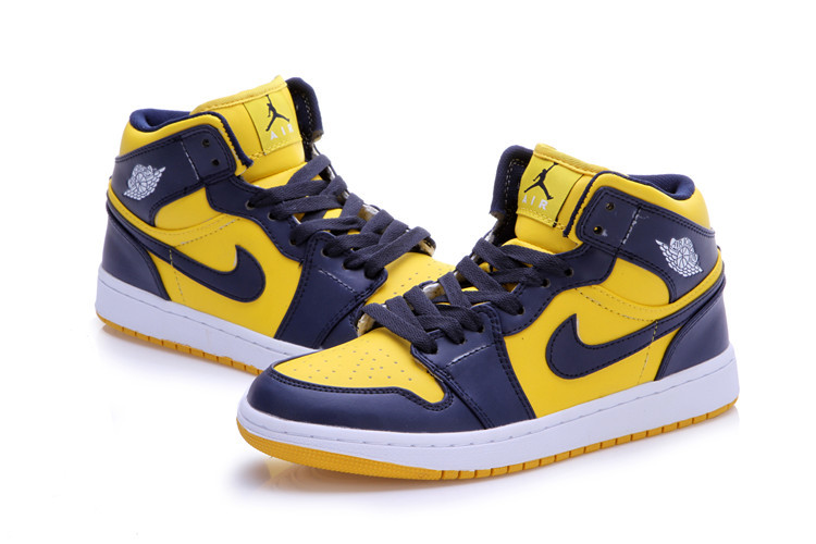2015 New Dark Blue Yellow Jordans 1