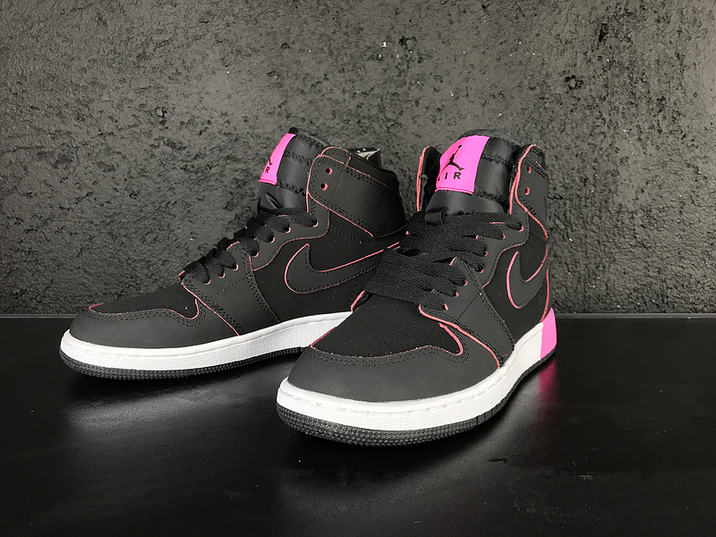 2017 Jordan 1 GS Black Pink White Shoes