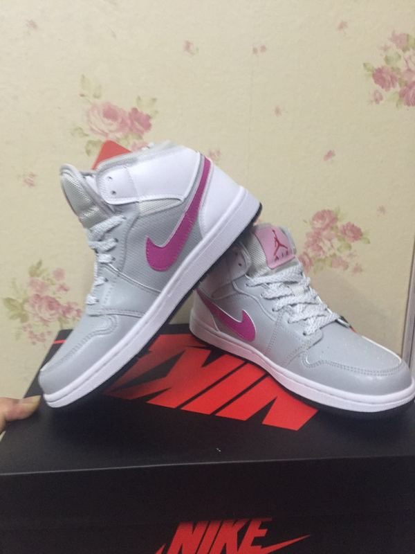 2016 Jordan 1 GS White Grey Pink Shoes