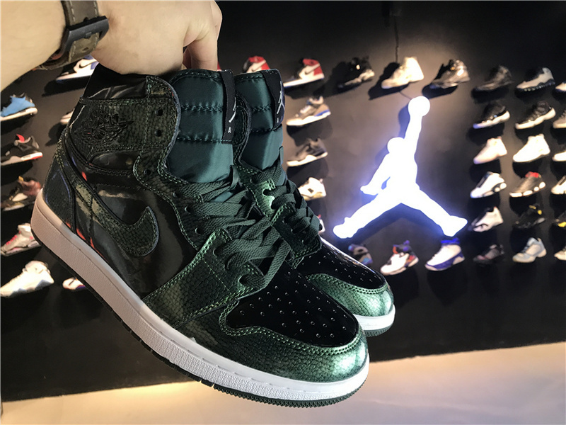2017 Jordan 1 Green Patent Leather Shoes