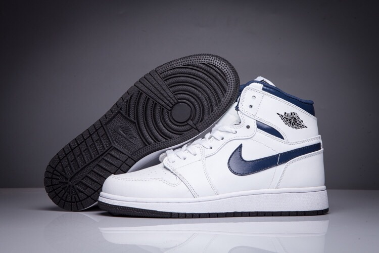 2016 Jordan 1 High All White Blue Swoosh