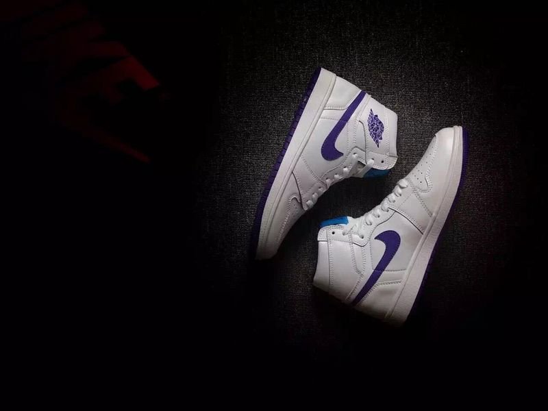 2016 Jordan 1 Hornets White Purple Shoes