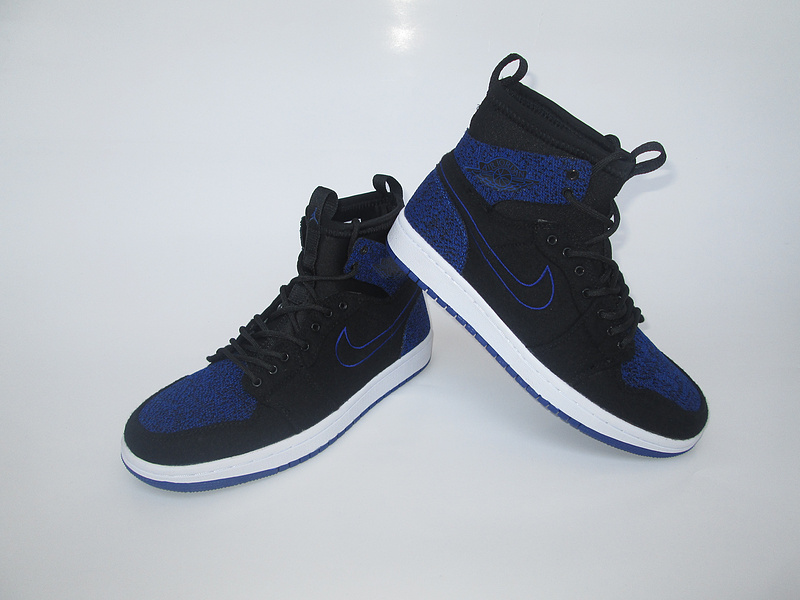 2017 Jordan 1 Knitted Socks Shoes Black Blue