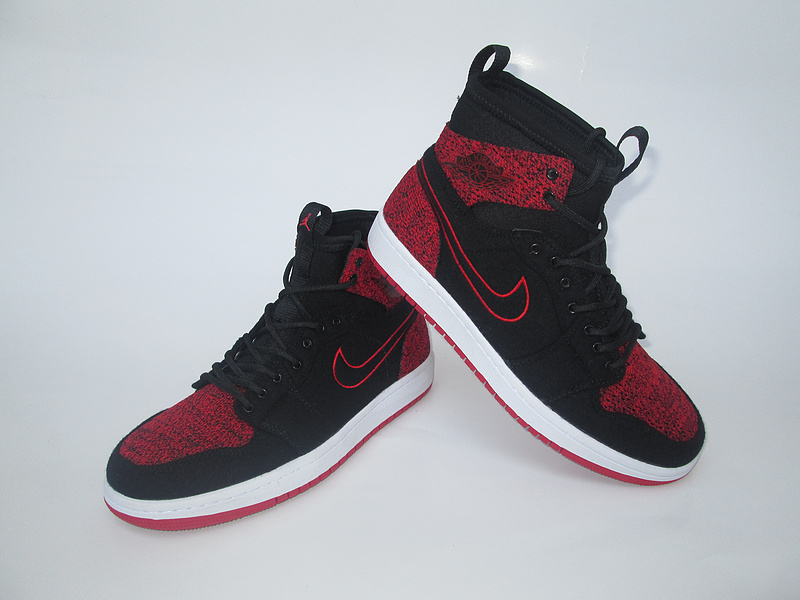2017 Jordan 1 Knitted Socks Shoes Black Red