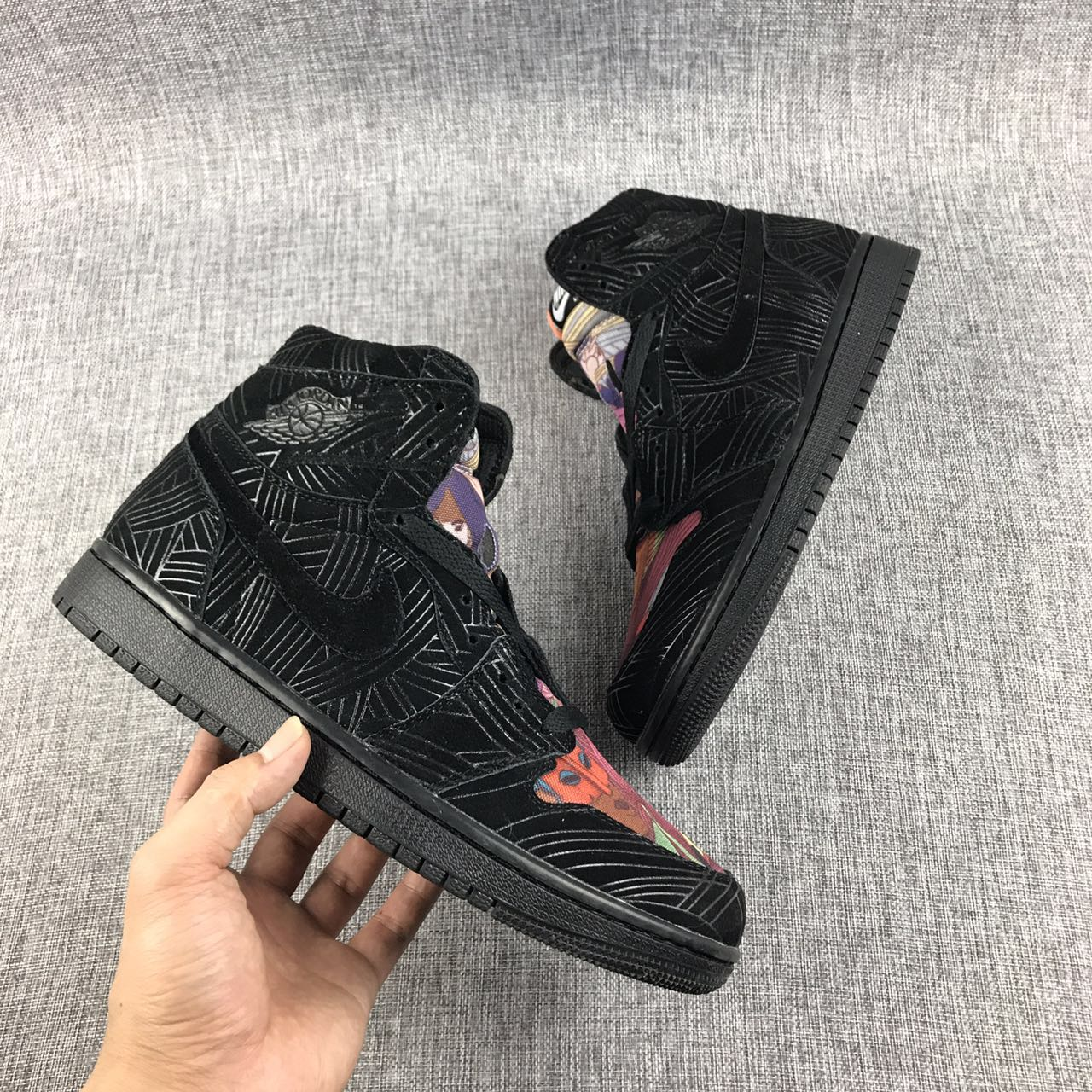 2017 Jordan 1 Laser Graffiti Black Colorful Shoes