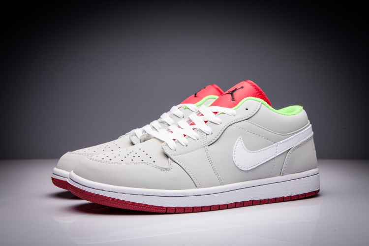 2016 Jordan 1 Low Hare Grey White Red Shoes