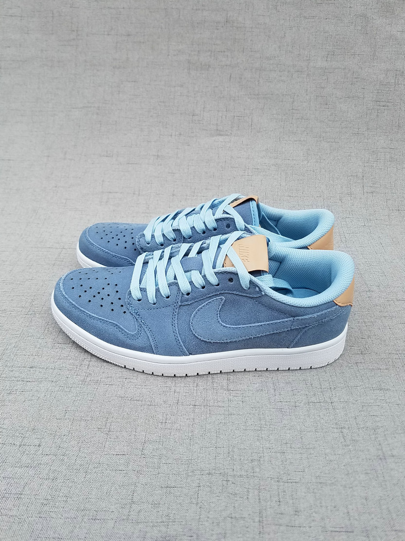 2017 Jordan 1 Low Ice Blue Brown Shoes