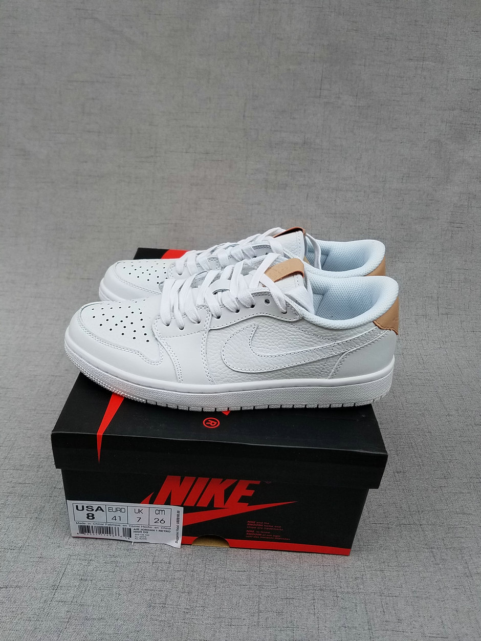 2017 Jordan 1 Low White Brown Shoes