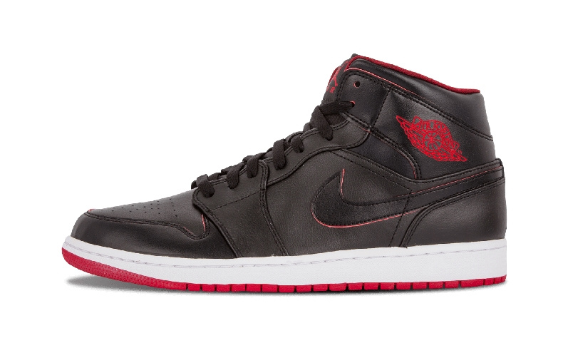 2017 Jordan 1 Mid Black Red White Shoes