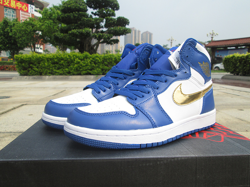 2016 Jordan 1 Olympic Gold Swoosh Blue White Shoes