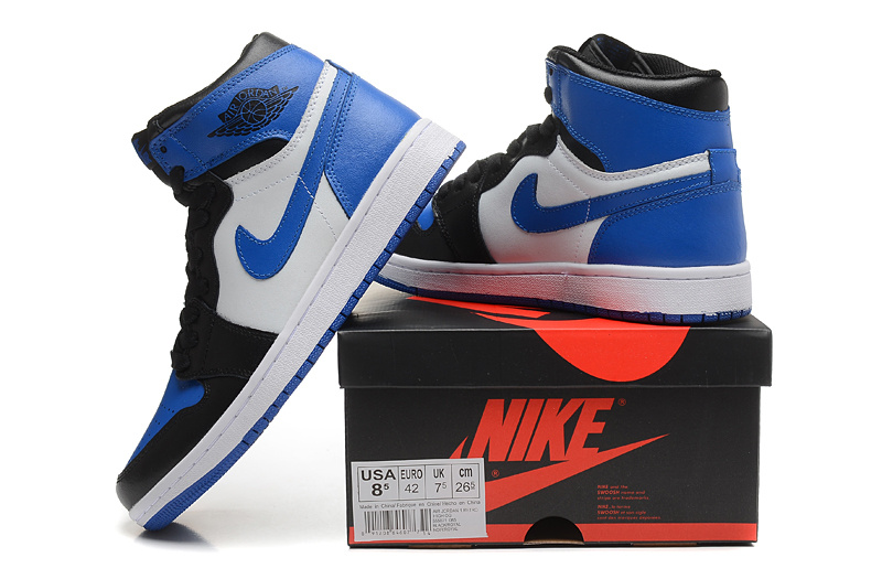 2015 New Jordans 1 Black Blue White