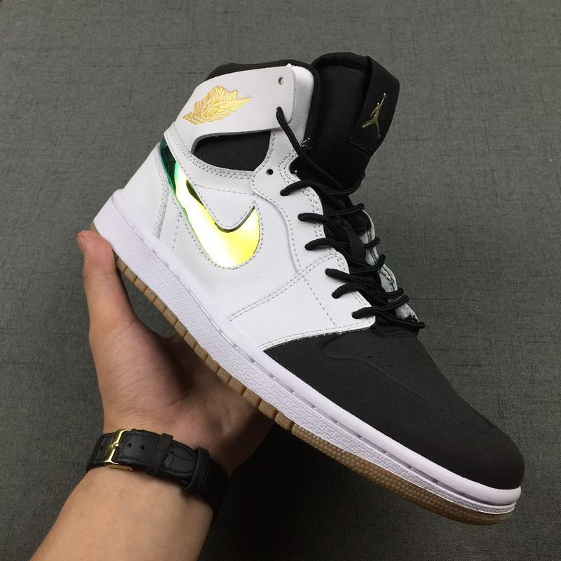 2016 Jordan 1 Retro Black White Gold Shoes