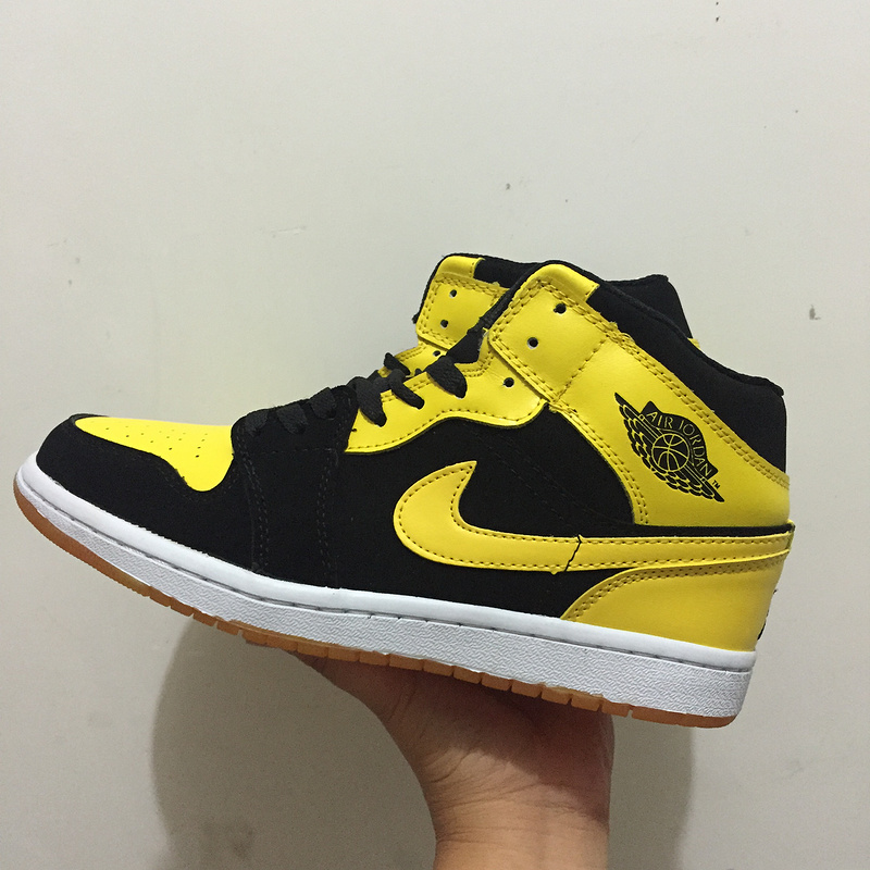 2017 Jordan 1 Retro Black Yellow Shoes