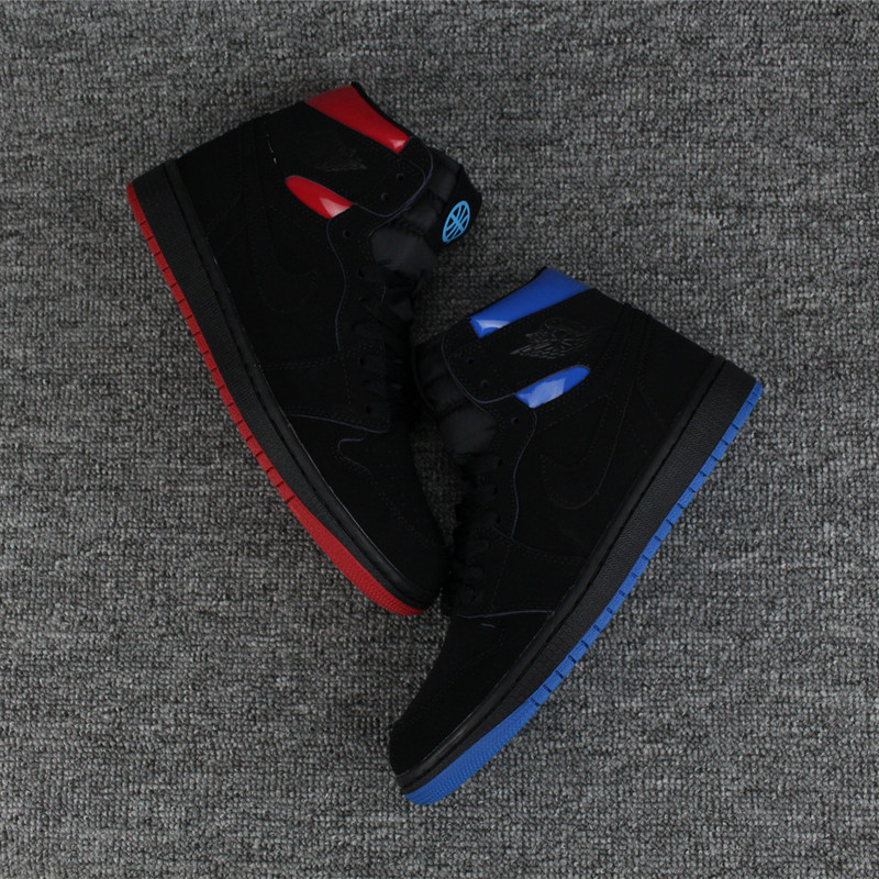 2017 Air Jordan 1 Retro Deer Leather Black Blue Red Shoes