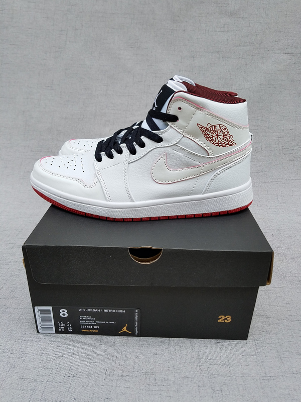 2017 Jordan 1 Retro MID White Black Red Shoes