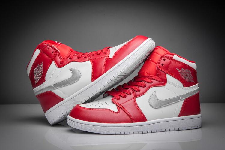 2016 Air Jordan 1 Retro Silver Red White Shoes