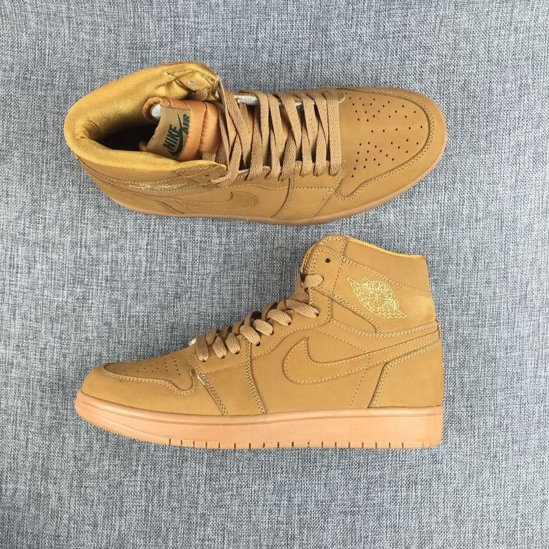 2017 Air Jordan 1 Retro Wheat Yellow Shoes