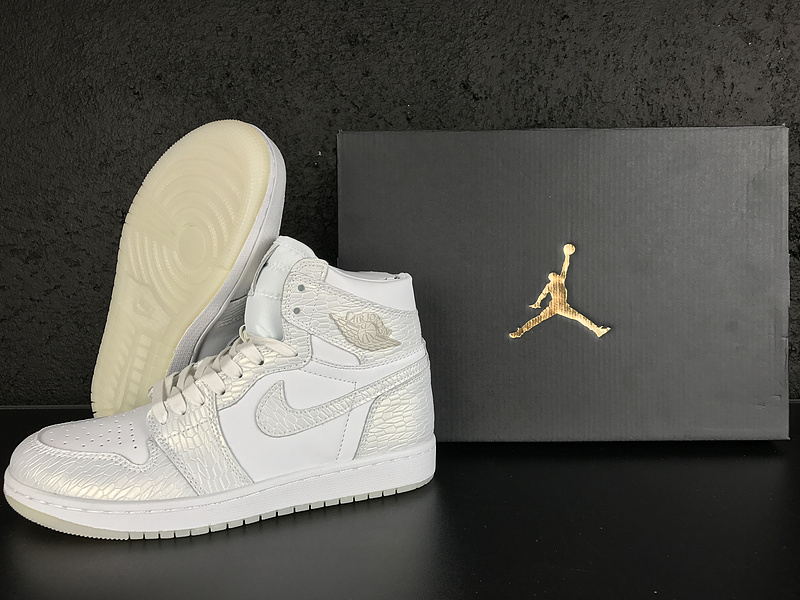 2017 Jordan 1 Retro White Silver Shoes
