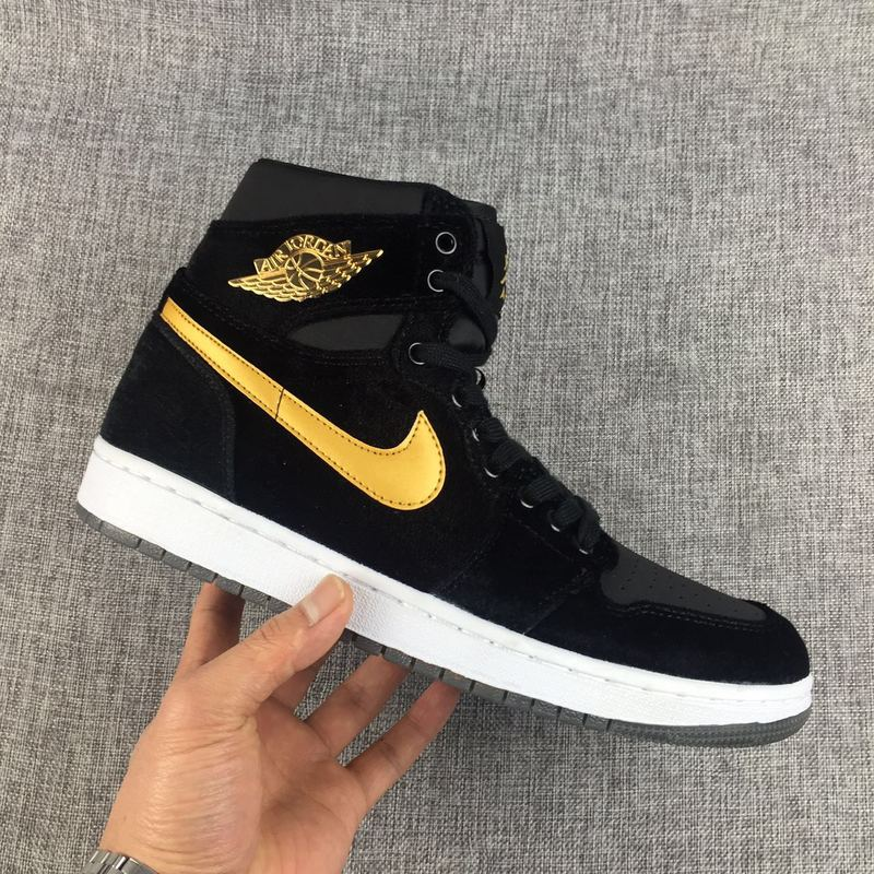 2017 Jordan 1 Velvet Black Yellow Shoes