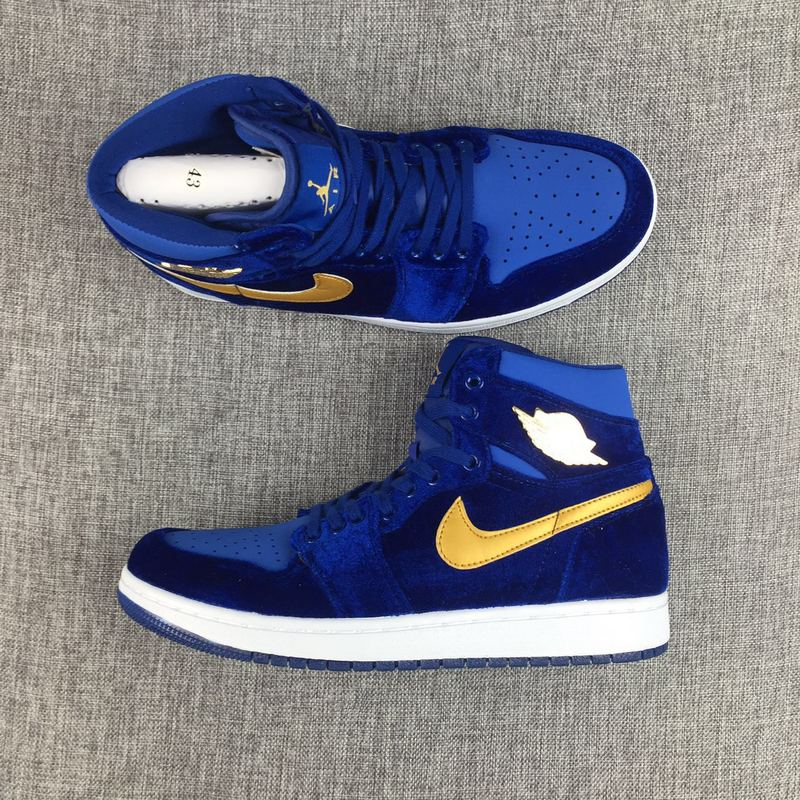2017 Jordan 1 Velvet Blue Yellow Shoes