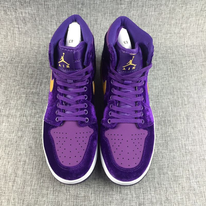2017 Jordan 1 Velvet Purple Yellow Shoes