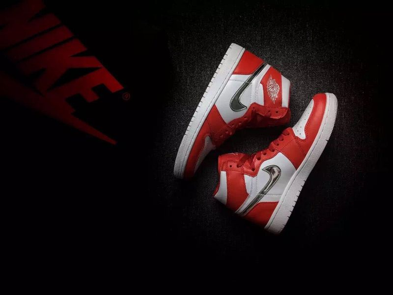 2016 Retro Air Jordan 1 Retro White Red Silver Shoes