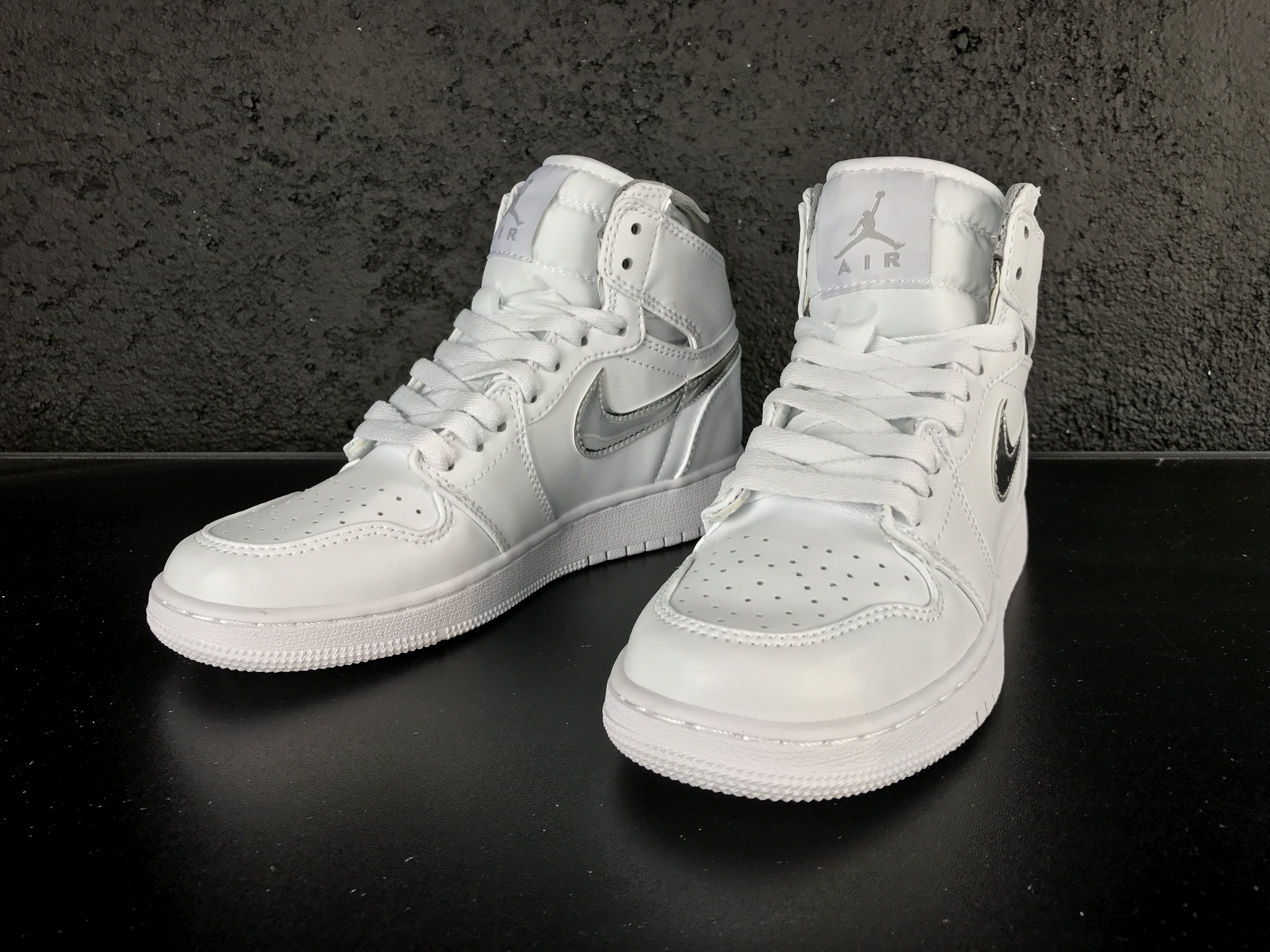 New Jordan 1 Retro White Silver Lover Shoes