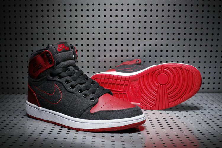 2017 Jordan 1 Wool Black Red White Shoes