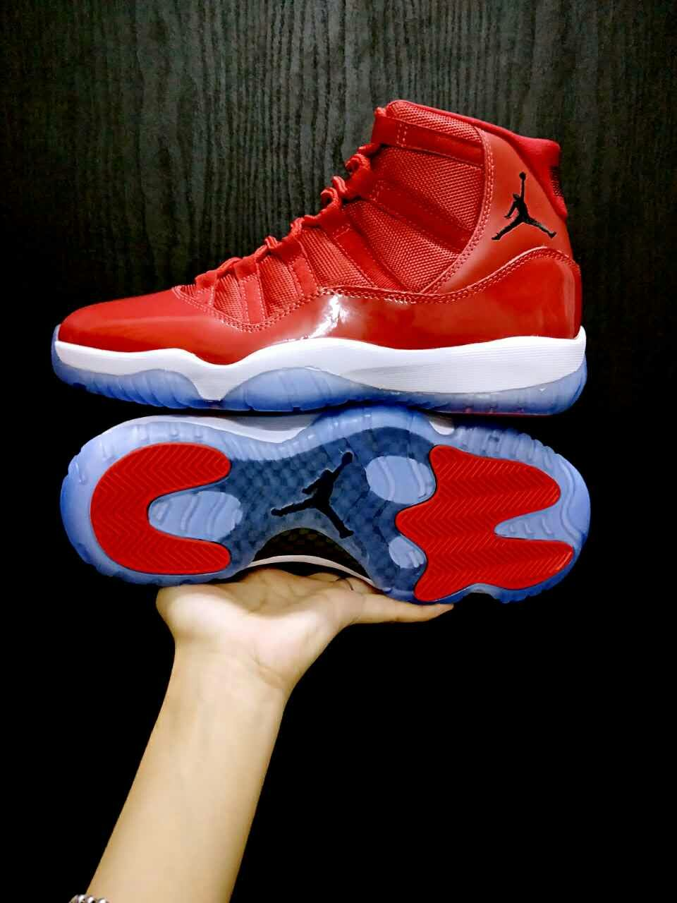 2017 Women Jordan 11 All Red Ice Sole Shoes