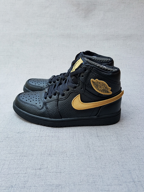 2017 Jordan 1 BHM Magic Buckle Black Gold Shoes