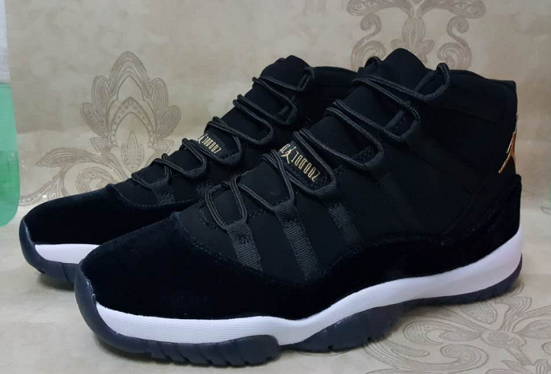 2017 Jordan 11 Black Goose Down Gold Shoes