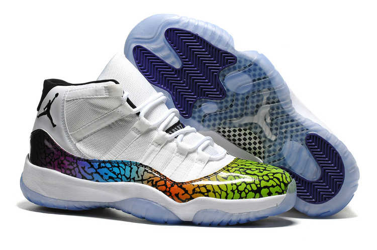 2016 Jordan 11 Retro Colorful Crack White Shoes