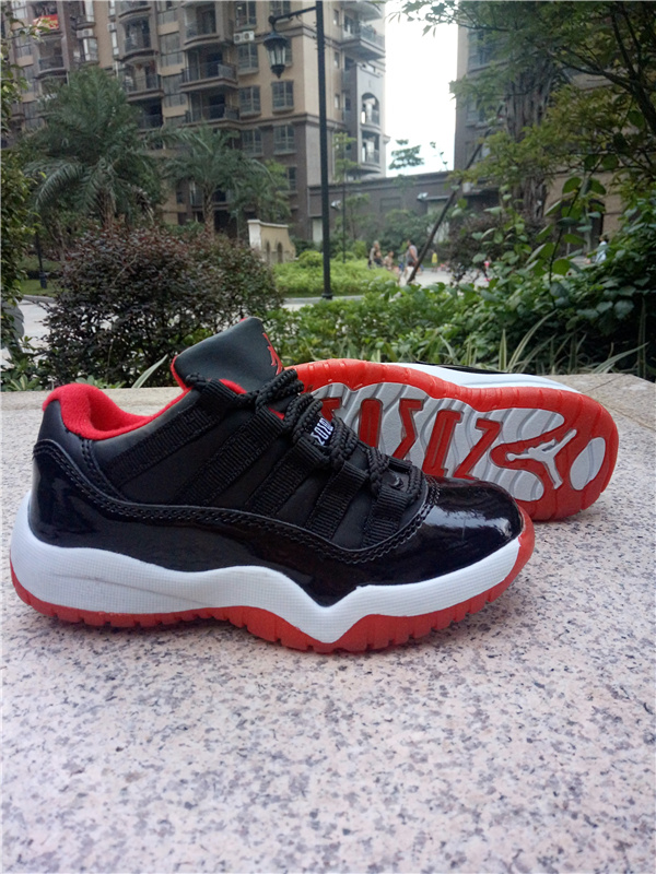 2016 Kids Air Jordan 11 Low Black Red White Shoes